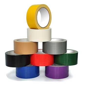 九种不同颜色的布基胶带摆放